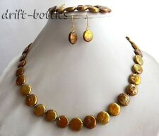 18''/8'' 12mm Coffee Coin Freshwater Pearl Crystal Necklace Bracelet Earring Set