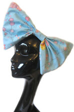 BIG LARGE HAIR BOW - BLUE FLOWER CLIP INDIE GRUNGE ROCKABILLY PARTY DRESS UP