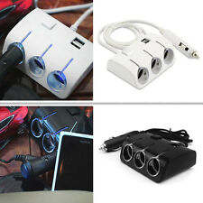 Car Cigarette/Cigar Lighter 1 to 3 way Splitter socket 12V/24V Extension Hub USB