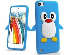 Blue Penguin Silicone Rubber Back Case Cover Skin For iPod Touch 6