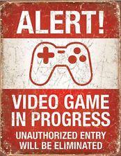 Notifica video game in corso di Metallo Retrò Vintage Tin Sign ragazzo-ragazza stanze Decor