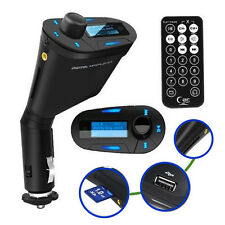 Blue LCD Wireless FM Radio Transmitter USB SD Modulator MMC Remote for Most Car
