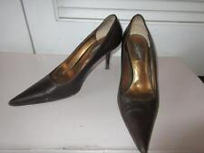 WOMENS DOLCE & GABBANA BROWN LEATHER HIGH HEEL SHOES - SIZE 38 1/2
