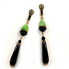 NEW SWEET ROMANCE RETRO STYLE JET BLACK & GREEN POST EARRINGS ~~MADE IN USA~~