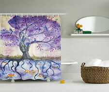 Purple Blue Tree of Life Painting Beige Fish Digital Fabric Shower Curtain