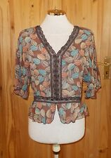 RED HERRING brown blue beige rust orange SILK chiffon tunic blouse top 10 38