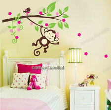 Monkey Blossom Tree Wall Stickers Girls Room Art Decal Paper Baby Nursery Decor