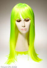 """Wig Neon Green 20"""" Long High Quality Synthetic Hair Costume Wig With Bangs"""