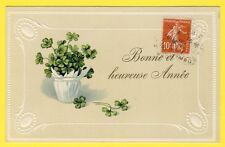 cpa Fantaisie Art Nouveau Corbeille TRÈFLES à QUATRE FEUILLES four leaf clovers