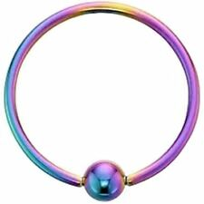 "Captive Lip Ear Eyebrow Ring Annealed 16 Gauge 5/16"" w/Fixed 3mm Ball Rainbow IP"
