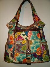 Fossil Lovely Large Multicolor Heavy Canvas Shoulder Bag Lots of Storave EUC!!