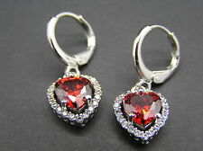 Ladies Classic Drop/Dangle Heart Earrings White Gold Plated Cubic Zirconia Red