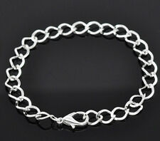 Charm Bracelets Silver 8 inch Link Chain Jewelry Adjustable Lot of 8