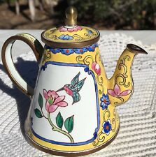 Enamel ware Miniture Tea pot on Copper, Cloisonne Look