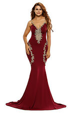 Abito lungo aperto Nudo Scollo Ricamato Cerimonia Party Mermaid Evening Dress S