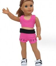 """Doll Clothes Fit AG 18"""" Shorts Pink Workout Dance Top Fits American Girl Dolls"""