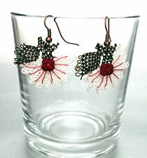 Handmade Needle Lace Crochet Earrings White Flowers with Burgundy Details