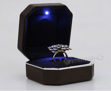 Dark Brown Deluxe LED Lighted PU Leather Propose Engagement Ring Jewelry Box