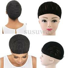 Black Cornrow Braided Wig Cap For Making Wigs With Clips & Strong Elastic Band