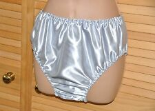 SSX 1 SG - Saucy satin panties / knickers, BN, Silver Grey, waist to 42""