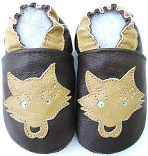 soft soled leather baby shoes wolf dark brown 0-6m