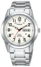 Mens Pulsar Railroad Approved Silver Stainless White Dial Day Date Watch PJ6007
