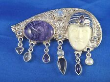 SAJEN Hand Crafted Sterling Silver Charoite Pin Brooch Pendant with Goddess Face