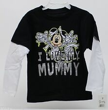 Halloween Disney Mickey Mouse I Love My Mummy Long Sleeve Shirt Size 3T NWT