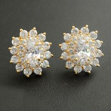 Flower Small White Round Cubic Zircon Gold Plated Girl Stud Earrings Jewelry