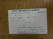 29/09/2001 Ticket: West Bromwich Albion v Burnley (Creased, Marked). This item h