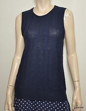 Nwt $99 Ralph Lauren Linen/Cotton Knit Anchor Vest Top Sweater Top Navy Blue XL