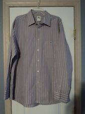 EUC LACOSTE LONG SLEEVE BUTTON DOWN SHIRT 45 XL PURPLE WHITE STRIPE
