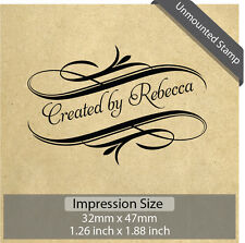 Unmounted Personalized Custom Made Handmade Created By Name Rubber Stamp RE691