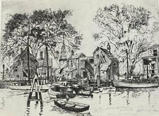 Barrymore, Lionel (American 1878-1954)  Etching, The Old Red Bank, Signed