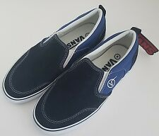 Vans Asher Classic Slip On Canvas Skate Shoes Lite Navy Blue Men Boys Sz 5 W 6.5