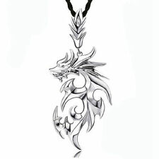 New Silver Stainless Steel Dragon Pendant Men Necklace With Leather Chain