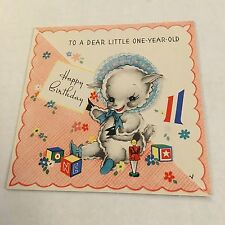 Vintage Greeting Card Birthday Baby 1st Lamb Sheep Blocks