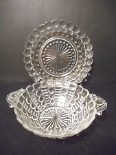 Art Deco Early American Pressed glass handled bowl & plate set Bubbles & Bars