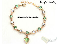 NEW Made with Swarovski Heart Peridot Green Crystal 18K Gold Plated Bracelet