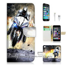 "iPhone 6 (4.7"") Print Flip Wallet Case Cover! Motocycle Rider P0343"
