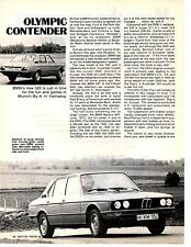 1973 BMW 520  ~  NICE ORIGINAL 2-PAGE NEW CAR ARTICLE / AD