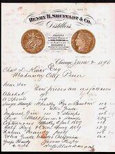 Chicago Gold Medal Distillers Henry H Shufeldt   IL 1890  Vintage Billhead Rare