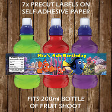 Personalised Finding Dory Nemo Fruit Shoot Bottle Labels Children Party Favours