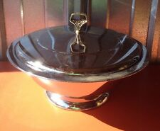 Vintage Kromex Covered Silver plate Dish With Fire King Glass Insert Dish Retro