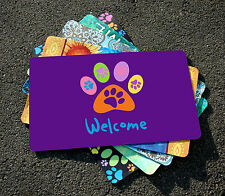 NEW Toland - Welcome Paws Purple - Decorative Puppy Dog Cat Door Standard Mat