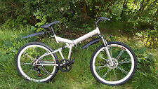 "LARGE MENS 26""  SILVER/BLACK  SHIMANO SPEED FOLDING MOUNTAIN BIKE BICYCLE 1Y W"