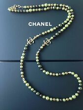 CHANEL 2017 CRUISE CC BROWN GREEN GOLD PEARL GOLD CC STAR CHARM NECKLACE NEW
