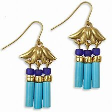 "Gold Plated Lotus Egyptian Triple Drop Turquoise Earrings 1.5"" Long"