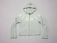 ABERCROMBIE & FITCH WOMENS GRAY WOOL SNOWFLAKE DESIGN HOODIE JACKET SIZE LARGE
