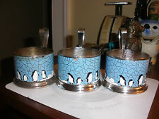 3 old vintage tea cup holder enamel copper silverplate penguin USSR Russia
